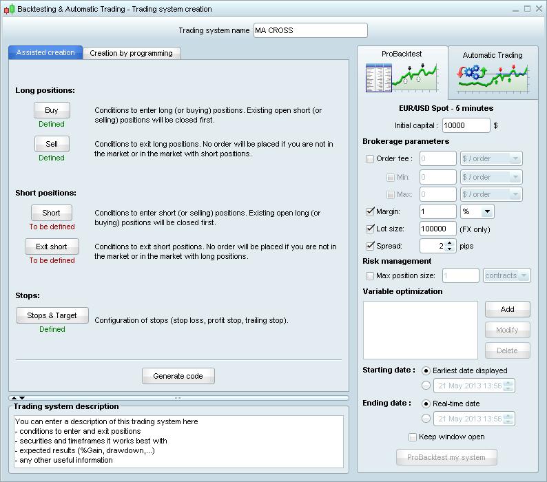 Trading system programmer