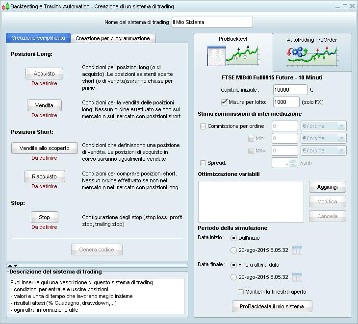 Scrivere un trading system