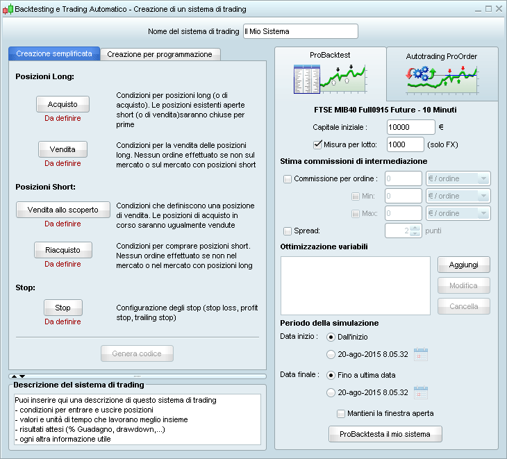 Programmare trading system con dainesi